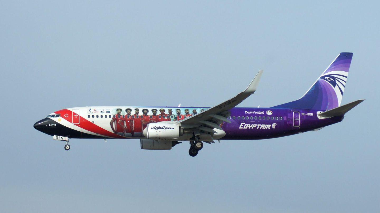 Hier fliegt auf der Boeing 737-800 der Fluggesellschaft Egypt Air die ägyptische Fußball-Nationalmannschaft als Sonderbemalung auf dem Rumpf mit.