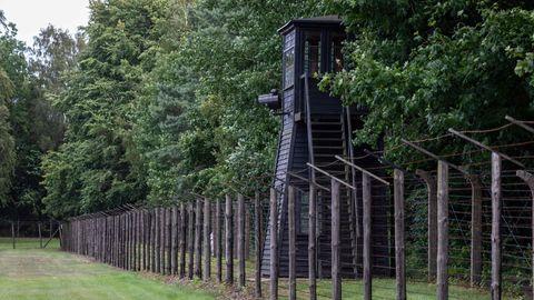 Wachturm des ehemaligen Konzentrationslagers Stutthof bei Danzig.