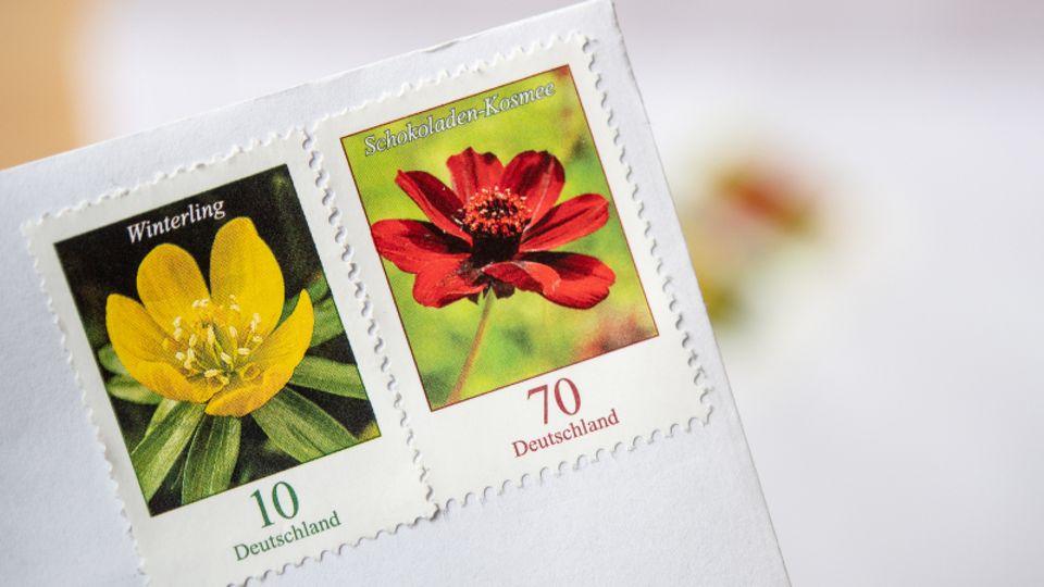 Zwei Briefmarken mit Blumenmotiv auf weißem Brief