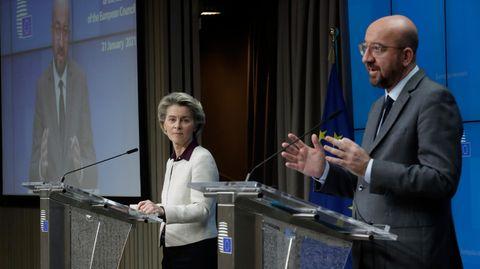 Ursula von der Leyen, Präsidentin der Europäischen Kommission, und Charles Michel, Präsident des Europäischen Rates