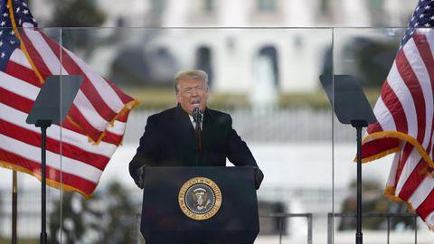 """Der ehemalige US-Präsident Donald Trump spricht am 6. Januar bei der""""Stop The Steal""""-Demonstration"""
