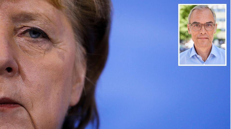 Das halbe Gesicht von Angela Merkel mit Kopfbild von Kolumnist Frank Schmiechen