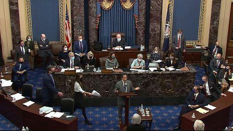 Der Anklageführer der Demokraten, Jamie Raskin (m.), steht während einer Anhörung im US-Senat vorn am Rednerpult