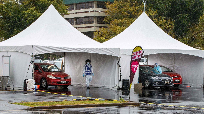 Ein Corona-Testzentrum in Auckland, Neuseeland