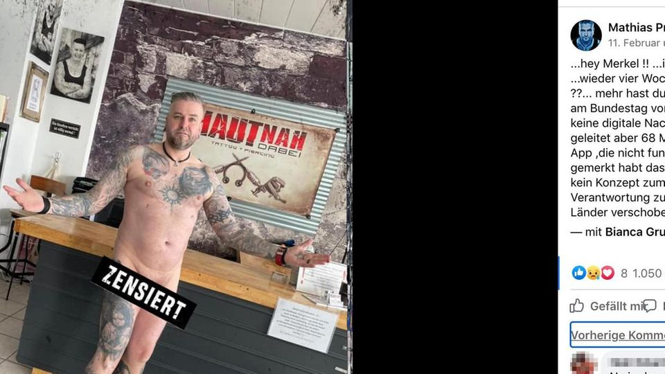 Nackter Tätowierer protestiert gegen Lockdown