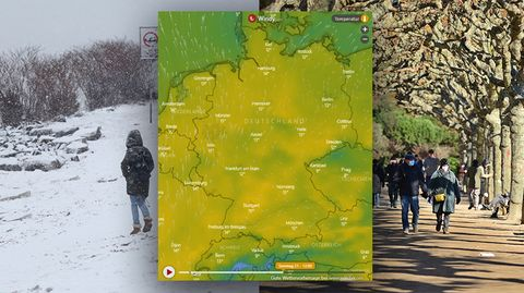 """Das Wetter in Deutschland schlägt um, nach dem Schnee, kommen frühlingshafte Temperaturen. Der Dienst """"Windy.com"""" sieht für Sonntag gar Temperaturen um die 15 Grad (kleine Karte, eine interaktive Version finden Sie unten)."""