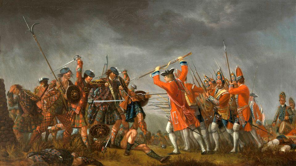 """Nach der Schlacht von Culloden vernichteten die Engländer planmäßig eine ganze Kultur (""""The Battle of Culloden, David Morier, 1746)."""