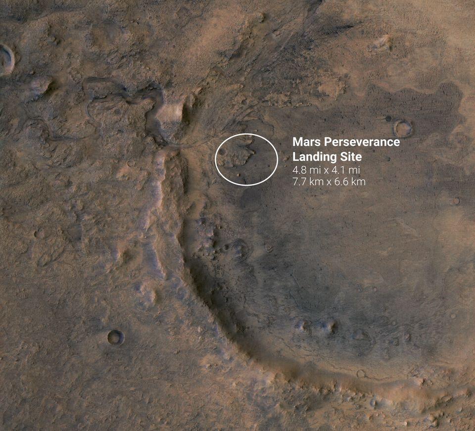 Landestelle des Mars Rovers Perseverance im Jezero-Krater auf dem Mars
