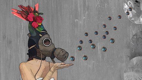 """""""Je sèmeàtous vent""""- """"Ich säe auf Hochtouren"""", ist dieses Wandgemälde der französischen Künstlerin Laureth Sulfate betitelt, das in Lyon zu sehen ist. Ein apokalyptisches Werk: Die darauf abgebildete Frau trägt eine Gasmaske, die Samen, die sie in die Welt streut, sind Corona-Viren."""