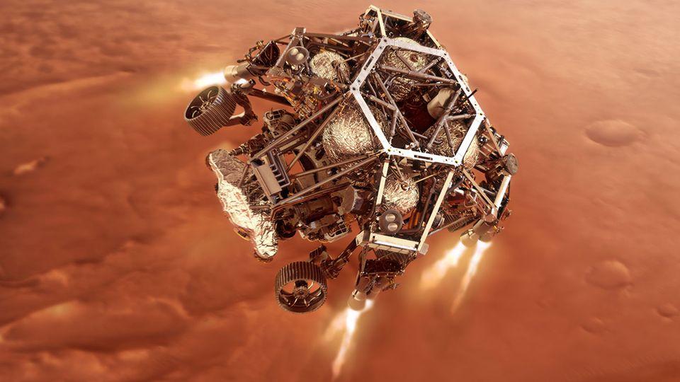 Mars Rover Perseverance kurz vor dem Aufsetzen auf den Marsboden