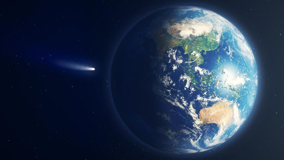 Eine 3D-Illustration eines Kometen, der auf die Erde zurast
