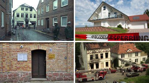 Tatorte rechten Terrors in Deutschland: neben Hanau 2020, unter anderem Mölln 1992, Wolfhagen 2019, Solingen 1993 und Halle 2019
