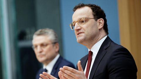 Bundesgesundheitsminister Jens Spahn (r.) und RKI-Präsident Lothar Wieler