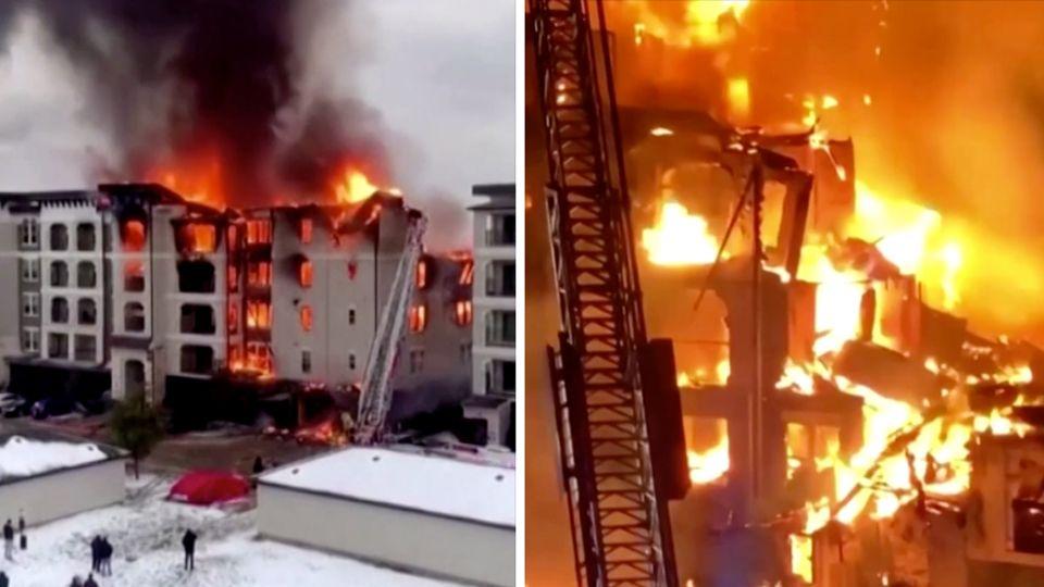 Links ist tagsüber ein weißes Apartementhaus zu sehen, in dem Flammen lodern, rechts brennt das Feuer im Dunkeln immernoch