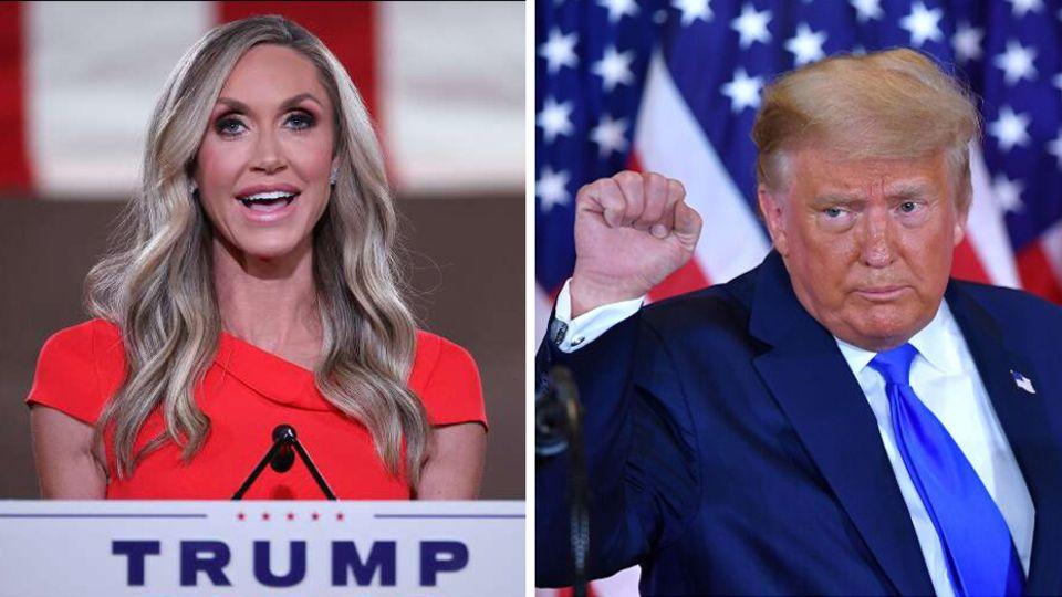 Lara Trump (l.) und Schwiegervater Donald Trump (r.)