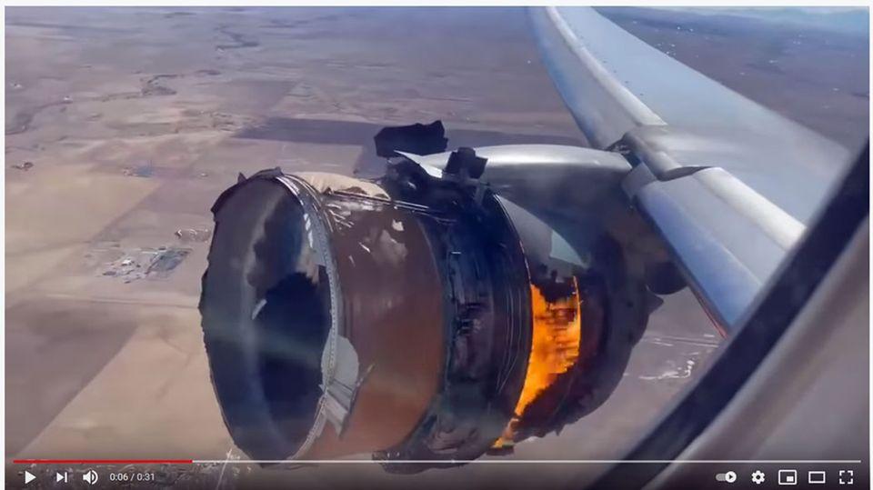 Boeing 777 von United: Notlandung in Denver: Video zeigt brennendes Triebwerk im Flug