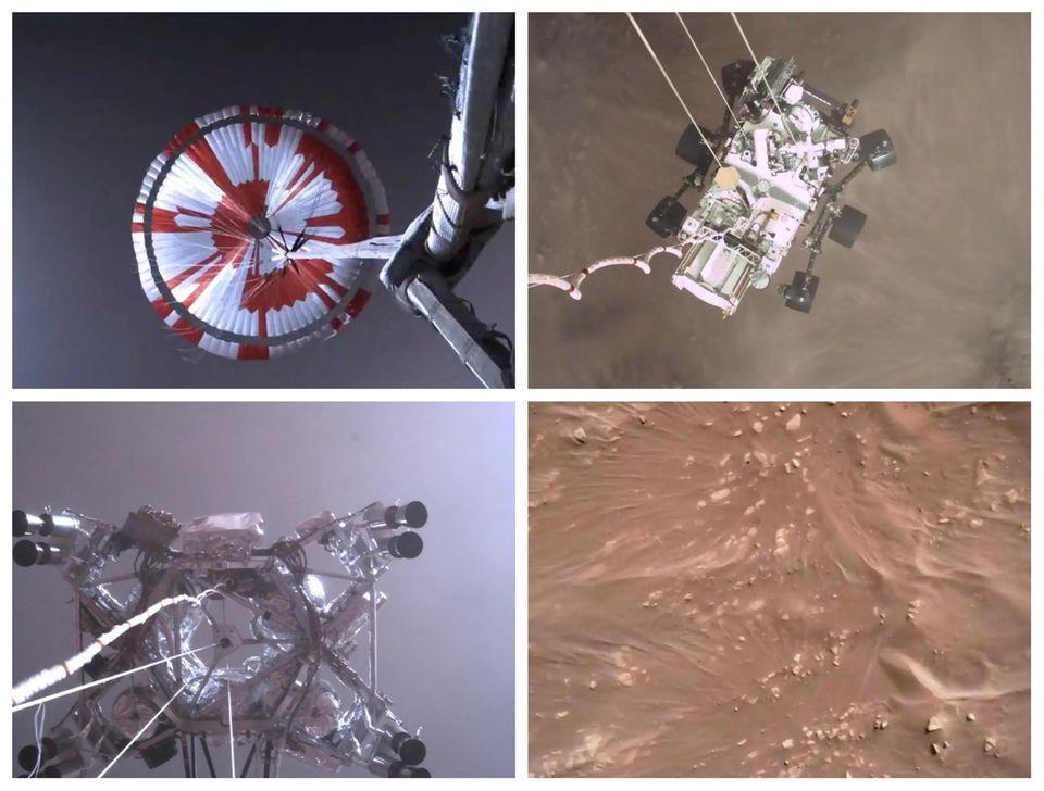 Vier Sequenzen aus dem Video der Landung von Mars-Rover Perseverance