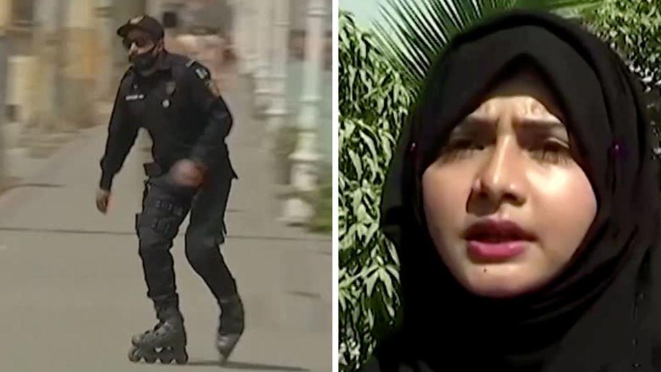Links fährt ein männlicher Polizist in Uniform Inlineskates, rechts spricht eine Polizistin mit Kopftuch