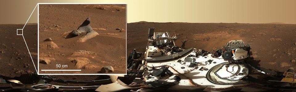 Detailansicht vom Mars-Boden in einem Mars-Panorama-Bild