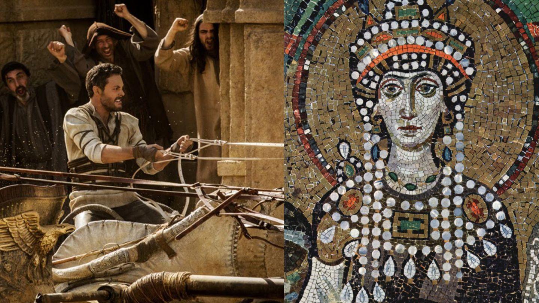 """Die Zirkusparteien rechneten nicht mit der Entschlossenheit der Kaiserin. Das Mosaik ist in Ravenna erhalten geblieben, das Wagenrennen stammt aus dem Film """"Ben Hur""""(2016)"""