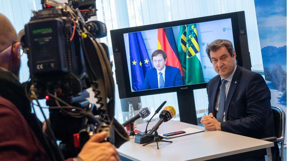 Bayerns Ministerpräsident Markus Söder und Sachsens Ministerpräsident Michael Kretschmer