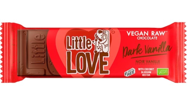 """Die vegane Schokolade """"Little Love Dark Vanilla"""" der Marke Lovechock."""