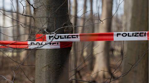 Eine Polizeiabsperrung ist bei einer Durchsuchung eines Waldstücks im Stadtwald zu sehen