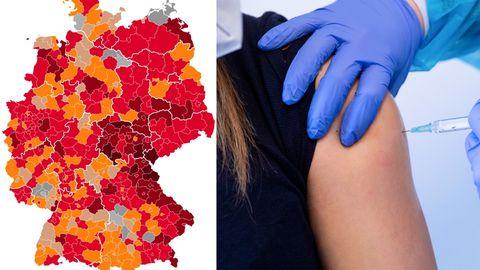 Eine Karte zeigt Deutschland mit nach Corona-Lage unterschiedlich rot gefärbten Landkreisen