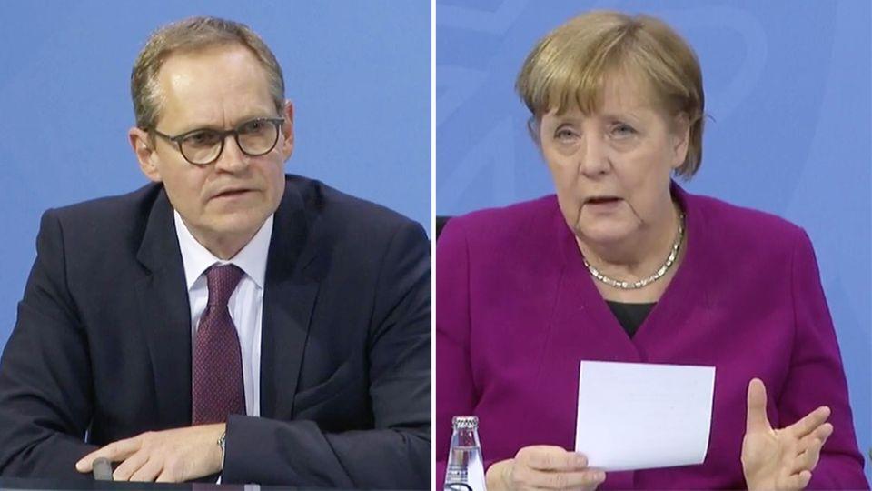 Michael Müller, Angela Merkel und Markus Söder