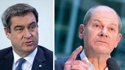 Eine Kombo zeigt links Markus Söder und rechts Olaf Scholz. Beide tragen Anzug und sprechen gerade
