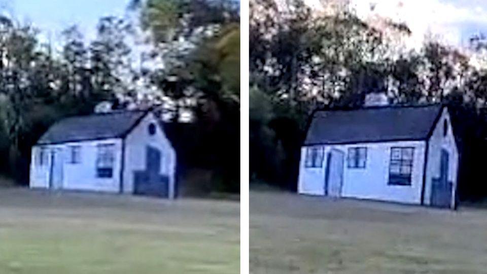 Optische Täuschung: Haus dreht sich beim Vorbeifahren