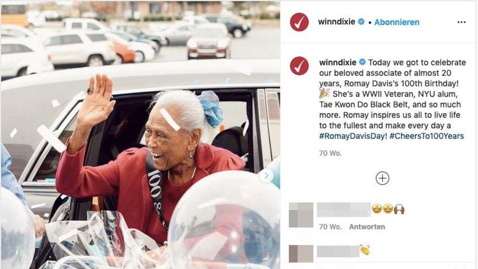 Instagram-Post von Romay Davis an ihrem 100. Geburtstag