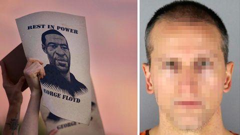 Der Polizist Derek C. und ein Bild des Afroamerikaners George Floyd