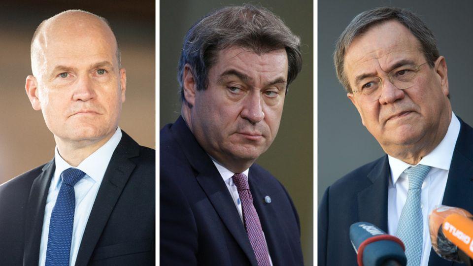 Von links: Unionsfraktionschef Ralph Brinkhaus (CDU), CSU-Parteichef Markus Söder und der CDU-Vorsitzende Armin Laschet