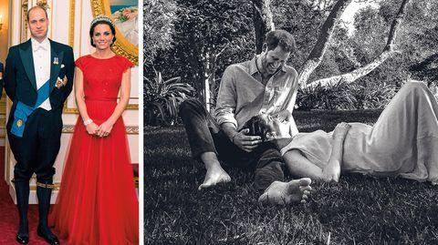 Prinz Charles, Camilla, die Queen und Prinz Pfilip gegen Harry und Meghan