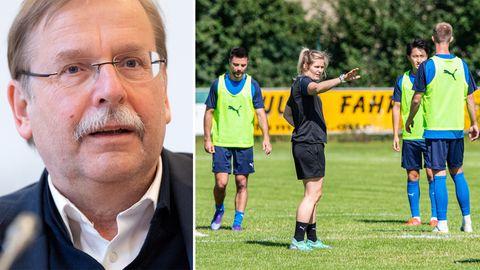 Kombo: DFB-Vize Rainer Koch (links), Imke Wübbenhorst (3.v.r), Trainerin der Sportfreunde Lotte gibt im Training Anweisungen an ihre Spieler.
