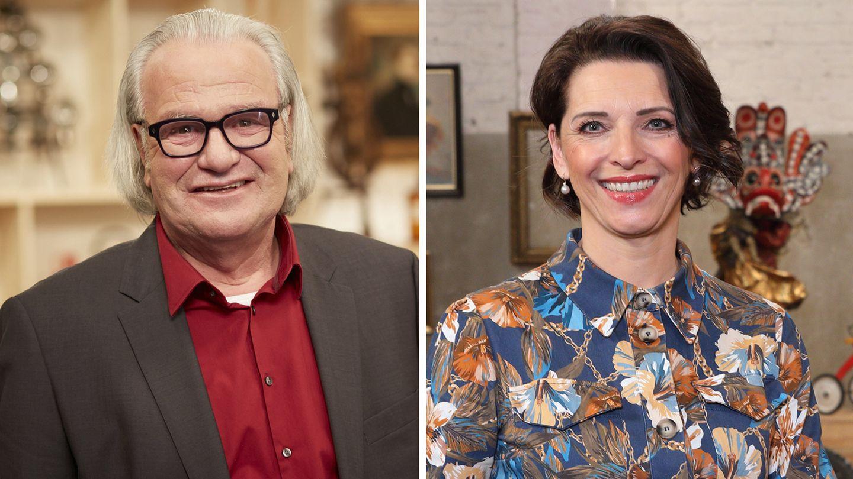 Albert Maier und Wendela Horz stehen im Studio von Bares für Rares in Pulheim und lachen in die Kamera