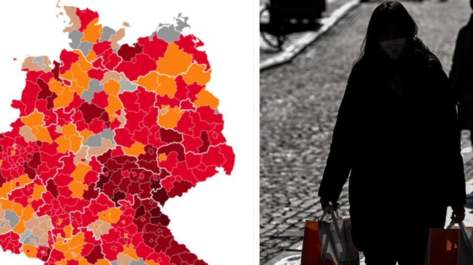 À esquerda, um mapa da Alemanha mostra o status da Corona por região e, à direita, uma mulher caminhando em uma luz de fundo com duas malas