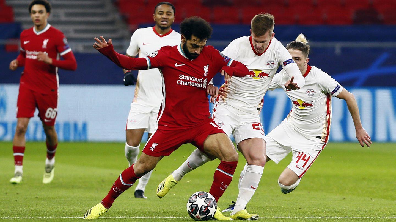 Liverpool gegen Leipzig: Mo Salah im Zweikampf mit Dani Olmo