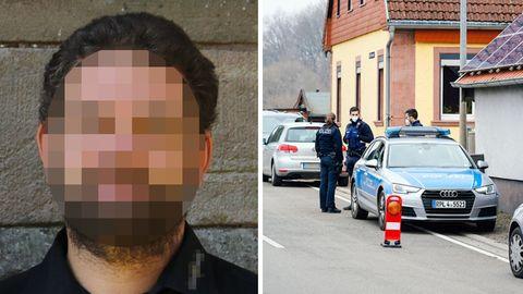 Fahndungsfoto; Polizei am Tatort in Weilerbach