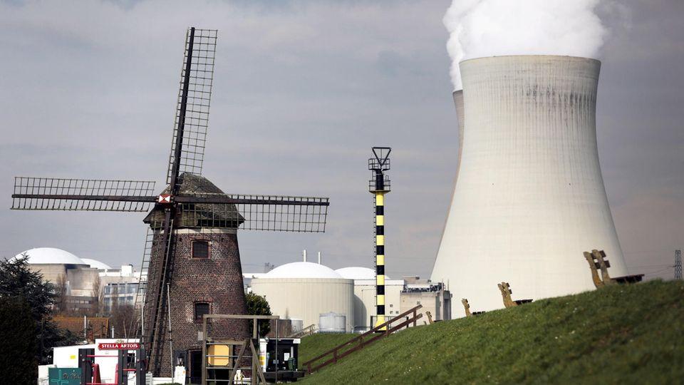 AKW-Idylle in Belgien: Hinter der Windmühle von Doel bei Antwerpen steigt Dampf aus dem Kernkraftwerk