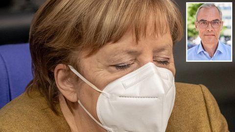 Angela Merkel müde mit Portrait Frank Schmiechen