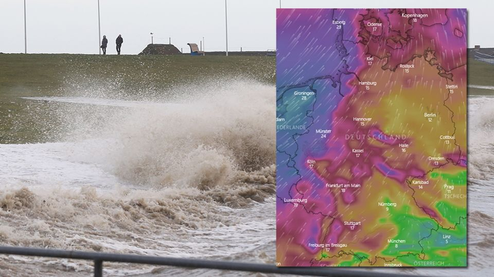 Das Bild stammt aus dem Archiv, aber der DWD gab auch aktuelleine Sturmprognose für die Nordseeküste ab. Die Karte zeigt, wo es am heftigsten bläst. Unten finden Sie eine interaktive Version.