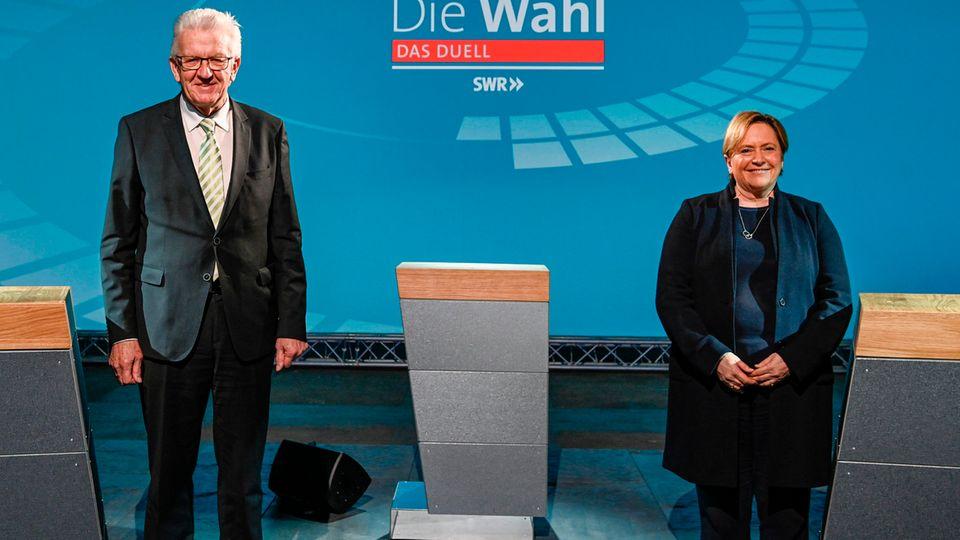Die Spitzenkandidaten Winfried Kretschmann (Grüne) und Susanne Eisenmann (CDU) bei der Landtagswahl in Baden-Württemberg