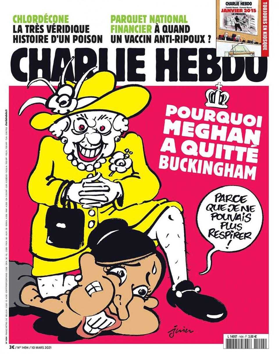 """Brachial-Humor: """"I can't breathe"""" – """"Charlie Hebdo"""" schockt mit """"Meghan und Queen""""-Karikatur"""
