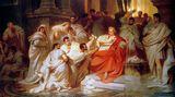 """15. März: Julius Caesar wird ermordet  """"Hüte dich vor den Iden des März."""" Mit diesen Worten soll ein Hellseher Julius Caesar vor dem aufziehenden Unheilgewarnt haben. Der römische Imperator selbst habe in der Nacht vor seinem Tod geträumt, er schwebe über den Wolken und reiche dem Gott Jupiter seine Rechte, berichteteder Historiker Sueton. Und CaesarsEhefrauCalpurnia habe im Traum gesehen,wie Caesar in ihrem Schoß niedergestochen wird.  Ungeachtet all dieser bösen Omen erschien Caesar am 15. März 44 v. Chrisus zu der Sitzung des Senats. An diesem Tag wollte der große Feldherr seinen nächsten Feldzug gegen Parthien planen – den großen Rivalen Roms. Doch dazu kam es nicht mehr. An die 60 Senatoren stürzten sich auf Caesar und erdolchten den mächtigsten Mann Roms.  Publius Servilius Casca soll als erster seinen Dolch gezogenhaben. Das Gemälde vonKarl von Piloty """"Die Ermordung Caesars"""" aus dem Jahr 1865 zeigt den tragischen Augenblick, wie ihn sich der Maler vorgestellt hat.  Die Ermordung Caesars zählt zu den großen Wendemarken der Geschichte. Die Zeit der Republik war endgültig zu Ende. Nach demblutigen Bürgerkrieg, der nach Caesars Tod ausbrach, gab es nur noch eine Lösung: Ein Kaiser musste Rom regieren."""