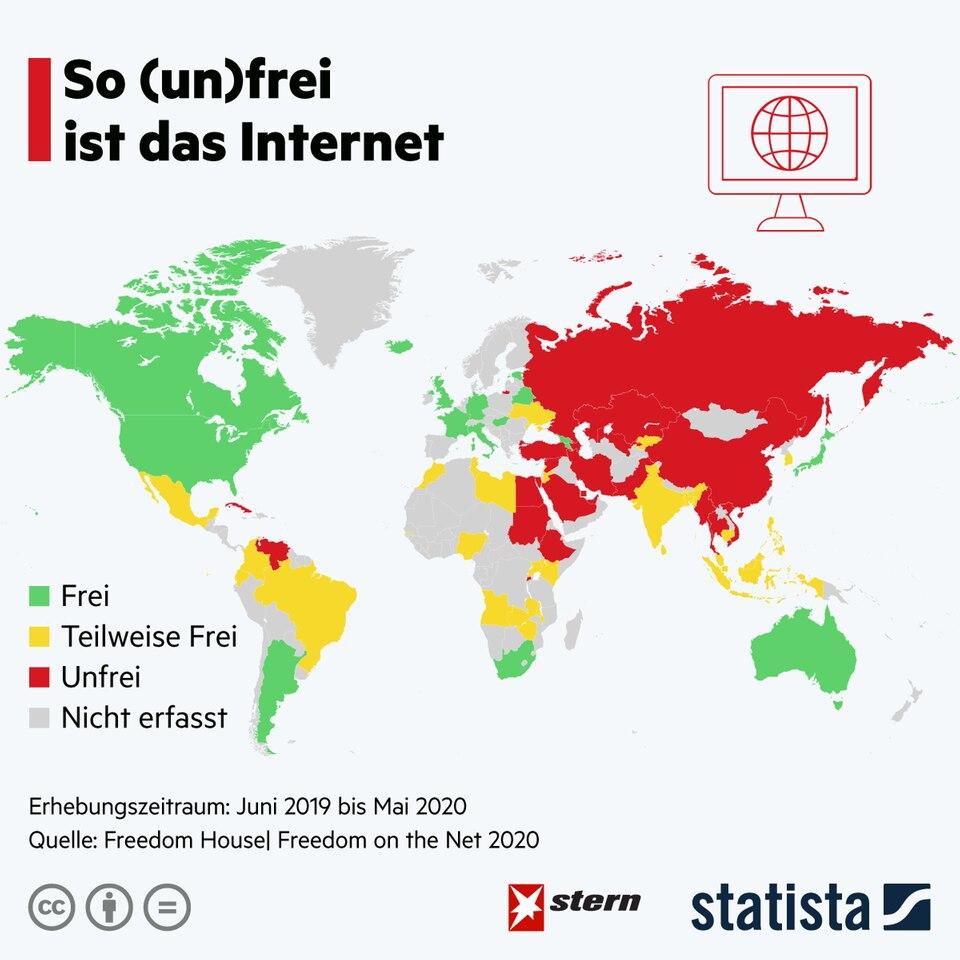 Länder-Ranking: So (un)frei ist das Internet
