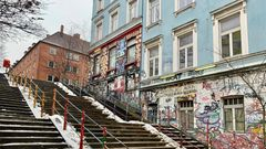 """Zwischen Elbe und Reeperbahn ist die Hafenstraße auch ein Ort der Kreativität. Seit 1995 gehören die ehemals besetzten Häuser zur Genossenschaft """"Alternativen am Elbufer""""."""