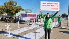 Aktion von GreenpeaceEnde Spetember 2020in Hamburg anlässlich des UN-Gipfel zur biologischen Vielfalt für die Rettung der Artenvielfalt.