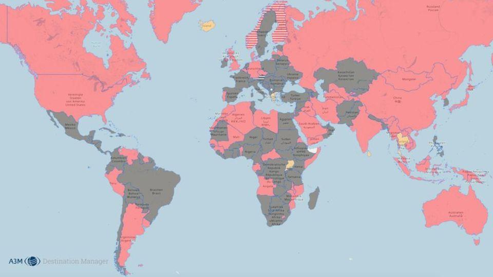 Diese Weltkarte zeigt, wohin man gerade trotz Corona noch reisen kann.